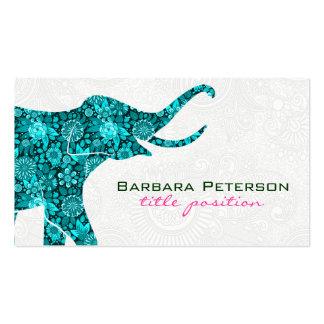 Damascos florales azules del blanco del elefante tarjetas de visita