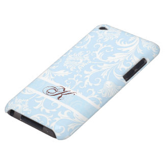 Damascos florales azules y blancos en colores barely there iPod protector