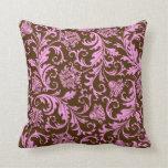 Damascos florales de Brown y del vintage rosado Cojines