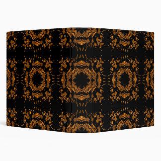 "Damascos florales de cobre negros, amarillos carpeta 1 1/2"""