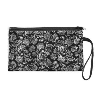 Damascos florales de la plata metalizada negra y