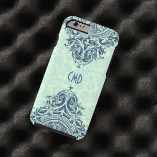 Damascos florales de la verde menta y ornamento funda de iPhone 6 tough
