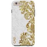 Damascos florales del blanco del cordón del oro funda de iPhone 6 plus tough