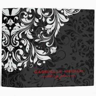 Damascos florales del negro, blancos y rojos del carpeta 5 cm