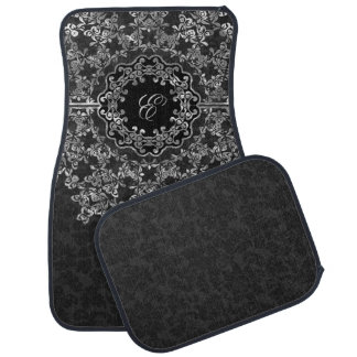 Damascos florales del negro del cordón de los gris alfombrilla de auto