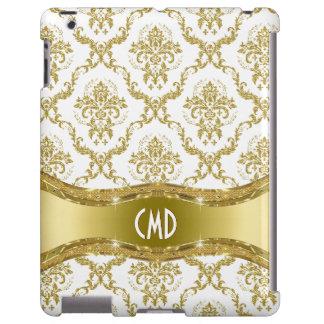 Damascos florales del oro metálico y del vintage funda para iPad