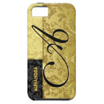 Damascos florales del oro negro y metálico iPhone 5 cárcasa