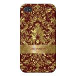 Damascos florales del oro sobre fondo rojo oscuro iPhone 4/4S funda