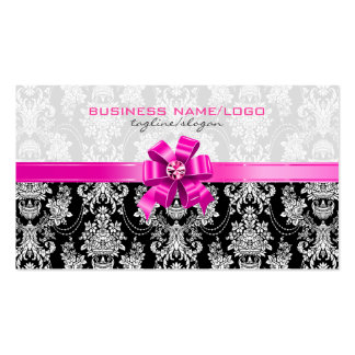 Damascos florales del rosa y blancos con el arco r tarjeta personal