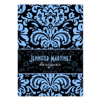 Damascos florales del vintage azul negro plantilla de tarjeta de negocio