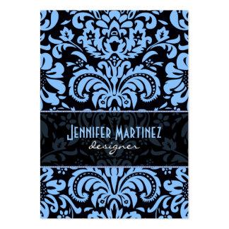 Damascos florales del vintage azul negro tarjetas de visita grandes