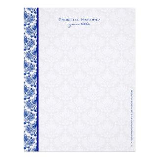 Damascos florales del vintage del azul real y del plantillas de membrete
