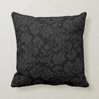 Damascos florales del vintage negro de Monotones Cojín