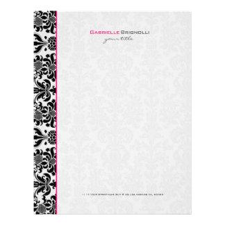 Damascos florales del vintage negro y blanco membrete a diseño