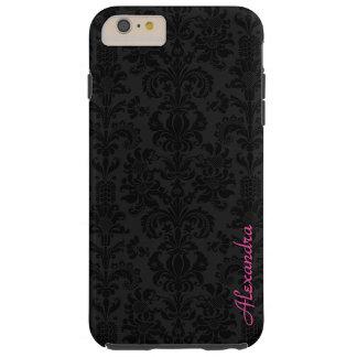Damascos florales del vintage negro y gris oscuro funda de iPhone 6 plus tough