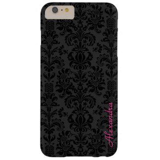 Damascos florales del vintage negro y gris oscuro funda de iPhone 6 plus barely there