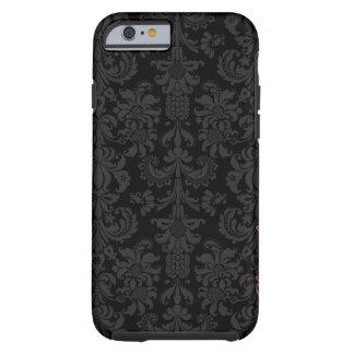 Damascos florales del vintage negro y gris oscuro funda para iPhone 6 tough