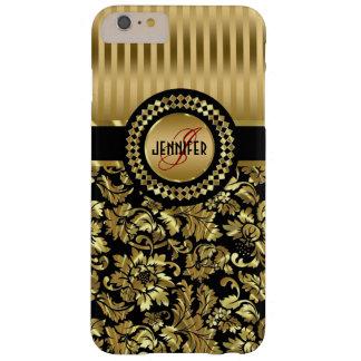 Damascos florales del vintage negro y metálico del funda para iPhone 6 plus barely there