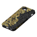 Damascos florales del vintage negro y metálico del iPhone 5 Case-Mate cárcasa