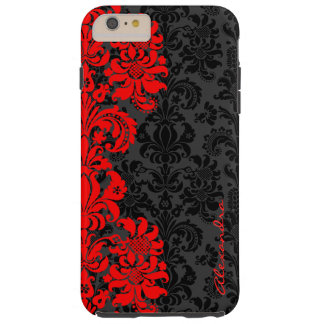 Damascos florales del vintage negro y rojo funda de iPhone 6 plus tough
