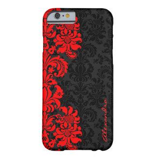 Damascos florales del vintage negro y rojo funda de iPhone 6 barely there