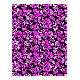 Damascos florales del vintage rosado negro y metál postal