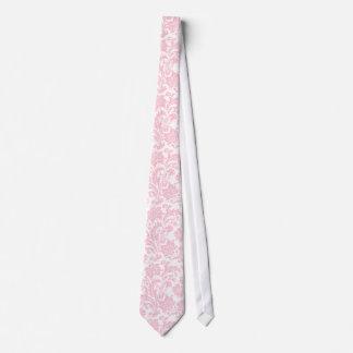 Damascos florales del vintage suavemente rosado y corbatas personalizadas