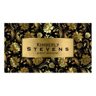 Damascos florales elegantes del negro y del oro tarjetas de visita