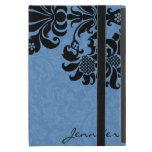 Damascos florales elegantes del vintage negro y az iPad mini fundas