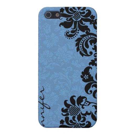 Damascos florales elegantes del vintage negro y az iPhone 5 coberturas