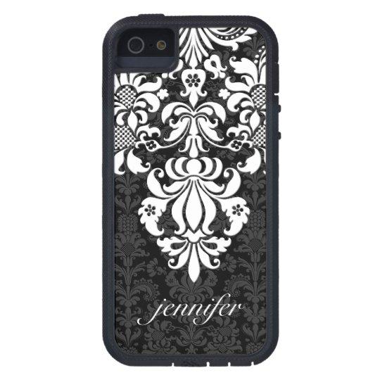 Damascos florales elegantes del vintage negro y funda iPhone SE/5/5s