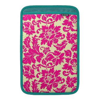 Damascos florales elegantes del vintage rosado y b fundas MacBook