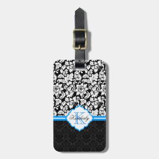 Damascos florales negros del vintage blanco y azul etiquetas bolsa