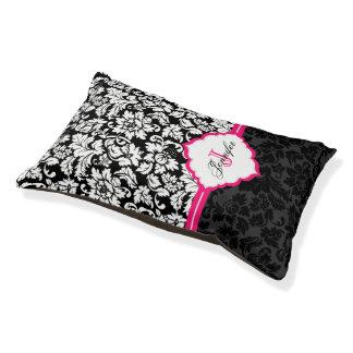 Damascos florales negros del vintage blanco y cama para perro pequeño