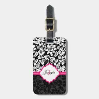 Damascos florales negros del vintage blanco y rosa etiqueta de maleta