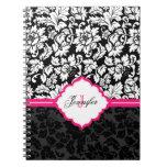 Damascos florales negros del vintage blanco y rosa libro de apuntes