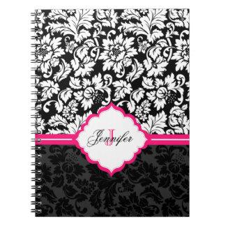 Damascos florales negros del vintage blanco y rosa libretas espirales