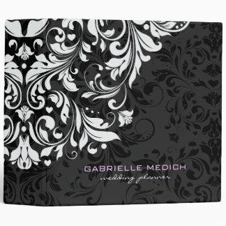"""Damascos florales negros y blancos del vintage carpeta 2"""""""