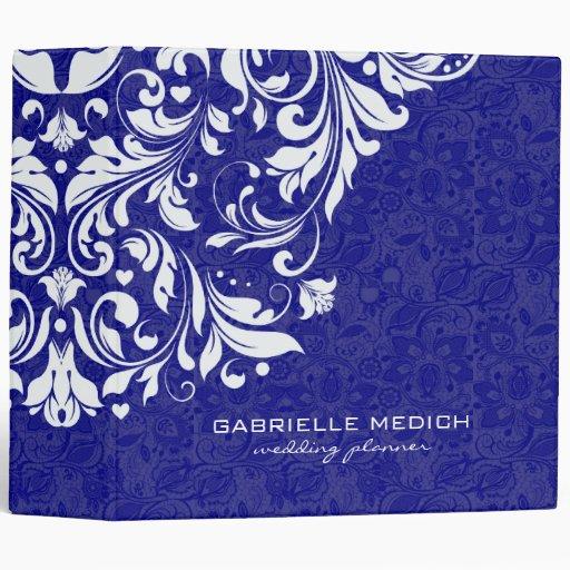 Damascos florales reales 2 del azul y blancos del