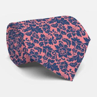 Damascos florales rosados y azules elegantes corbata personalizada