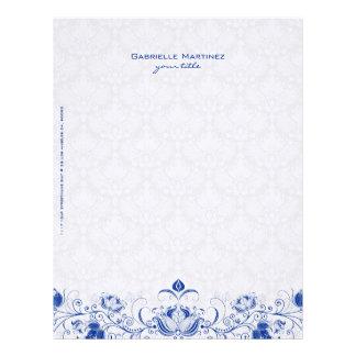 Damascos florales y remolinos del vintage del azul membrete