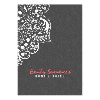 Damascos grises elegantes y cordón blanco del tarjetas de visita grandes