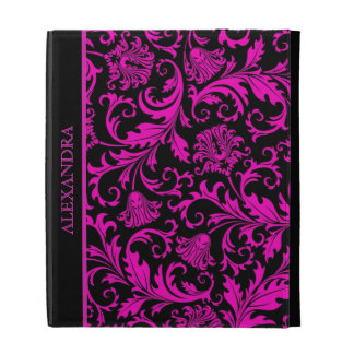 Damascos-Mnogram florales del vintage negro y rosa
