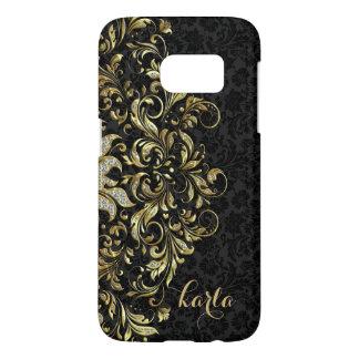 Damascos negros con el cordón floral del oro y de funda samsung galaxy s7