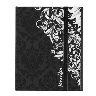 Damascos negros del vintage y cordón floral blanco iPad funda