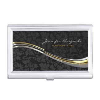 Damascos negros elegantes oro y pedrería plateada cajas de tarjetas de presentación