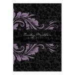 Damascos negros elegantes y ornamento floral púrpu tarjeta de negocio
