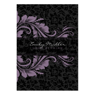 Damascos negros elegantes y ornamento floral púrpu tarjetas de visita grandes