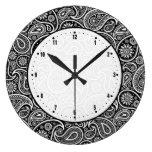 Damascos negros y blancos de Paisley del vintage Relojes De Pared
