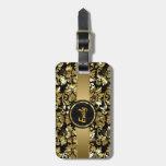 Damascos negros y metálicos del vintage del oro etiquetas de maletas
